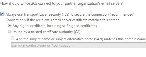 TLS settings to connect Office 365 to the Sophos UTM of email filtering